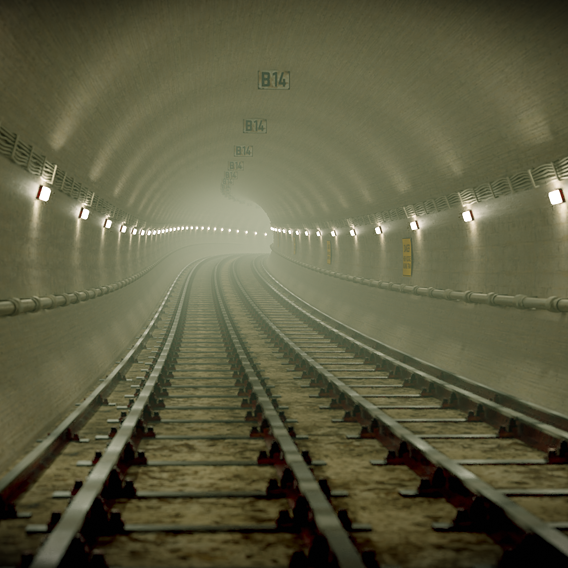 fog covered subway tunnel