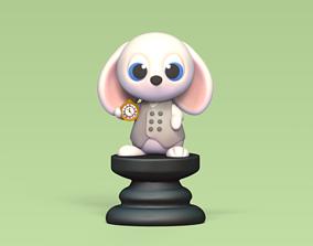 3D printable model Alice Chess - Side A - White Rabbit -