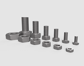 Hexagon Bolts and nuts 3D model