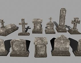 tombstone set 3D asset