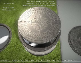 3D asset Sewer Cover 4 Basic Low-Poly Version