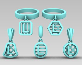 Initial letter charm with 5 different 3D print model 4