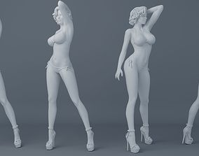 Short hair girl wearing bikini 001 3D print model