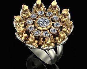 3D printable model sterling Ring Sisters Flower