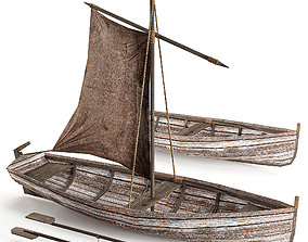 VR / AR ready Old Wooden sailboat Low-poly 3D model 2