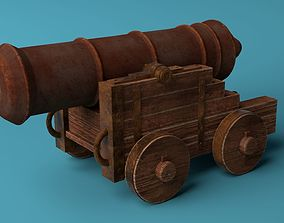 3D asset low-poly Medieval Cannon