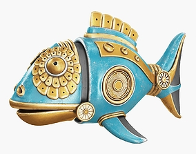 Steampunk Fish Figurine 3D PBR