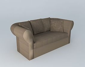 Roma taupe sofa 2 places 3D