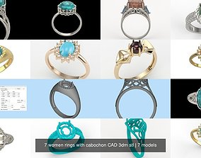 7 women rings with cabochon CAD 3dm stl