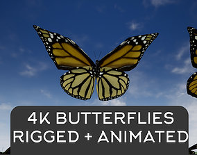 4K Butterflies rigged and animated 3D asset