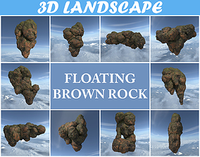 3D model Low poly Brown Floating Island Mossy Rock Pack