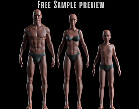 3D asset Realistic Basemesh - Free Sample Preview - all