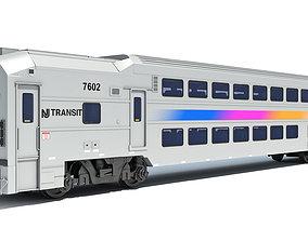 3D model Double Deck NJ Train Passenger Car