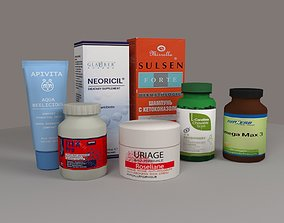 Pharmacy products 3D asset game-ready