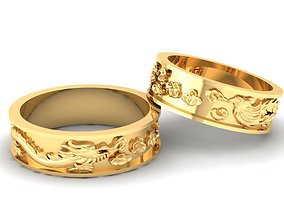 3D printable model Dragon and Phoneix Wedding Rings