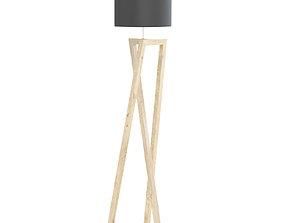 Wooden Floor Lamp 3D Model wood