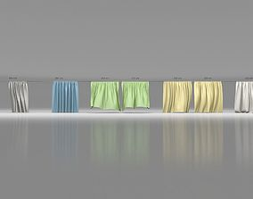 curtain 3D model Animated Curtains Collection
