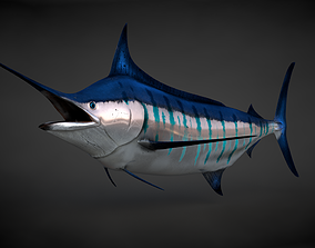 3D asset animated Blue Stripped Marlin C4D Rigged
