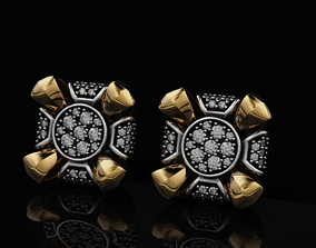 3D print model Stylish earrings with diamonds and onyx 568