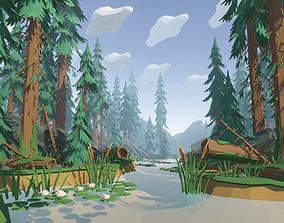 Polygon Pine Forest 3D model VR / AR ready