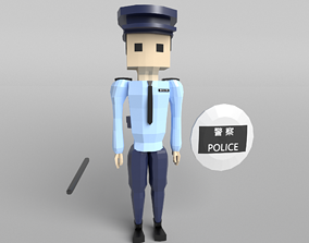 3D asset Low Poly Police