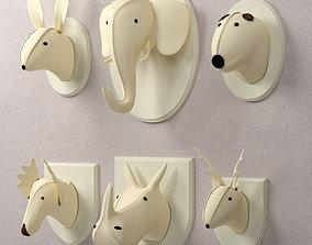 Wool Felt Animal Heads Restoration 3D model