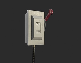 Electric Main Switchbox With On Off Lever and 3D asset 2