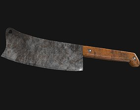 3D model Cleaver Knife Rusty Old Clean PBR Game Ready
