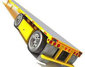 3D model Yellow Flatbed Trailer 01