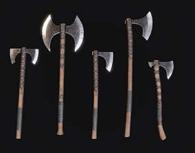 Viking Axes - Realistic Game Ready Pack 3D model