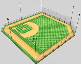 3D asset Baseball stadium pitch diamond low poly