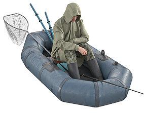 3D Fisherman in a boat