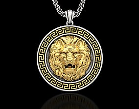 3D printable model Angry Lion Head2 Medallion Pendant