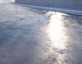 Wet concrete road texture 3D