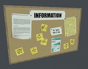 3D asset Bulletin Board PBR Game Ready