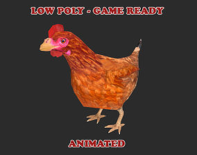 Low poly Chicken Animated - Game Ready 3D model