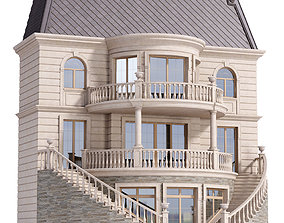 3D model Classic facade of a private with decors