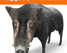 Black Wild Boar Rigged and Animated 3D Models animated