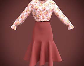 classy dress - ruffled blouse and skirt 3D model