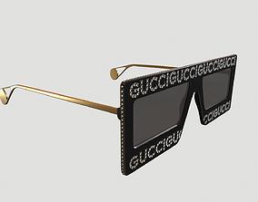Gucci Women Black Crystal Logo Shield Sunglasses 3D asset