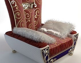 Ornate Armchair with Fringed Pillows 3D model