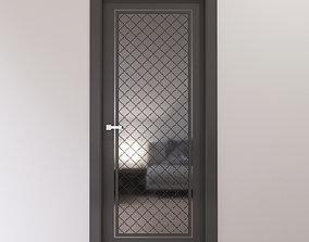 3D model Dark gray interior door with shiny metal tiles