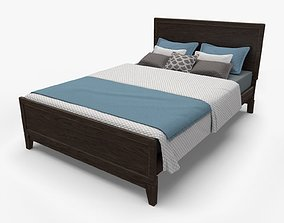 3D Queen Size Rustic Bed model low-poly