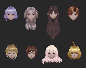 3D asset short hair hair style girl short hair cape