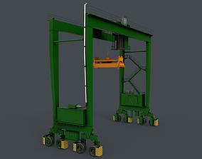 PBR Rubber Tyred Gantry Crane RTG V1 - Green 3D asset