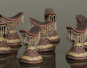 3D model Headrest Africa Wood Furniture Prop 32