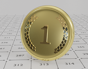 3D asset Shiny Gold Medal with Ornament