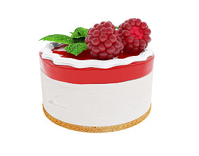 Raspberry round cake with jelly 3D model