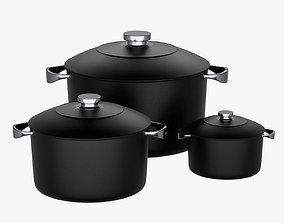 PBR 3D Stock Pot Cookware Set