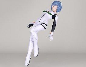 Rei Ayanami anime girl pose 02 3D